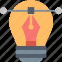 bulb, create, creativity, imagination, inspiration, line, pen icon