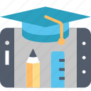 apps, education, hat, mobile, pencil, smartphone, technology icon