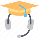 hat, headphones, help, information, learning, service, support icon