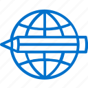 all, pencil, access, globe, education, worldwide, for icon