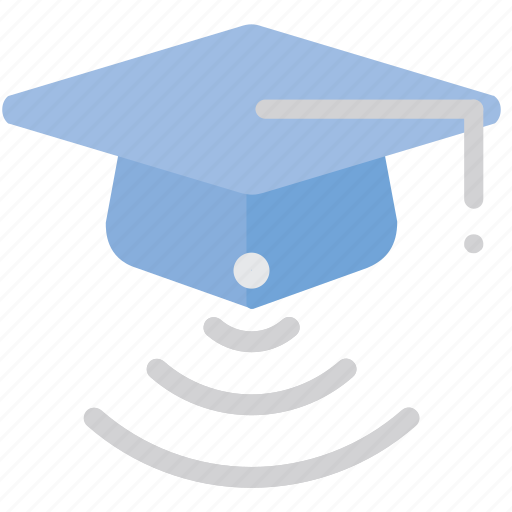 hat, online, student, wifi icon