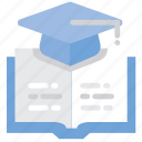 book, education, elearning, student hat icon