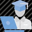 desk, educate, hat, laptop, study icon
