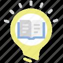 book, creative, idea, light bulb icon