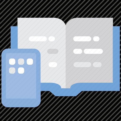 book, mobile, read, smartphone icon