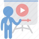 lecture, teacher, tutorial, video icon