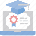 certificate, certification, computer, education, elearning, grade, student hat icon