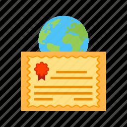certificate, education, global, laptop, success, university icon