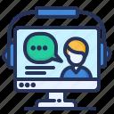 computer, headset, online education, webinar icon