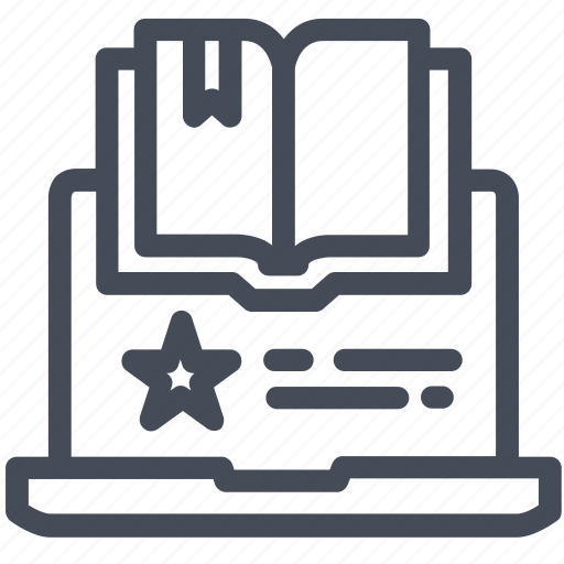 book, computer, online, reading icon