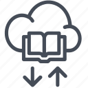 book, cloud, download, educate icon