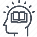 head, information, mind, online education icon