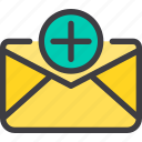 add, communication, email, letter, mail icon