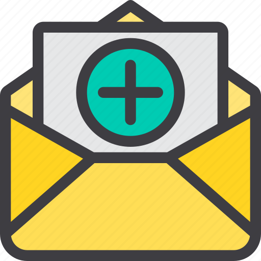 add, communication, email, letter, mail, paper icon