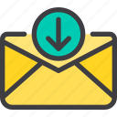 communication, download, email, letter, mail icon