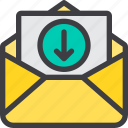 communication, download, email, letter, mail, paper icon
