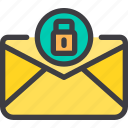 communication, email, letter, lock, mail icon