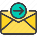 communication, email, letter, mail, out icon