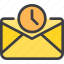 communication, email, letter, mail, time icon