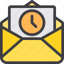 communication, email, letter, mail, paper, time icon