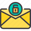 communication, email, letter, mail, unlock icon