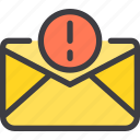 communication, email, letter, mail, warning icon