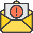 communication, email, letter, mail, paper, warning icon