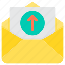 communication, email, letter, mail, paper, upload icon