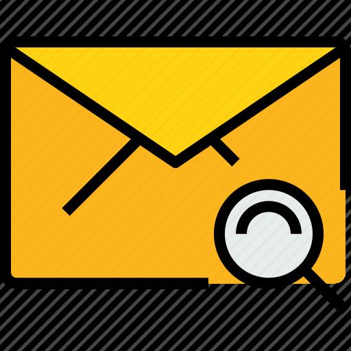 address, communication, e, information, mail, mailbox, search icon