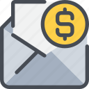 communication, email, letter, mail, message, money icon