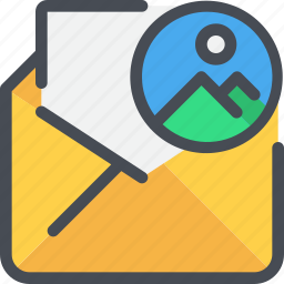 communication, email, letter, mail, message, photo icon