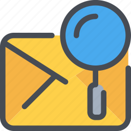 communication, email, letter, mail, message, search icon