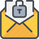 communication, email, letter, mail, message, padlock icon