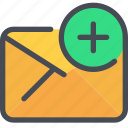 add, communication, email, letter, mail, message icon