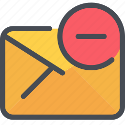 communication, email, letter, mail, message, remove icon