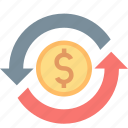 arrows, cycle, finance, money, rotation, turnover icon