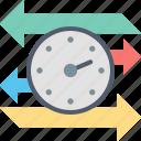 arrows, backward, clock, forward, time, timer icon