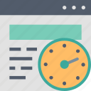 browser, clock, internet, time, timer, website icon