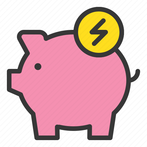 Piggy bank, ecology, earth day, green, environmental protection, save energy icon