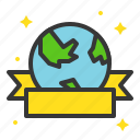 badge, earth day, ecology, environmental protection, green, ribbon icon