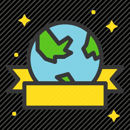 badge, earth day, ecology, environmental protection, green, ribbon icon