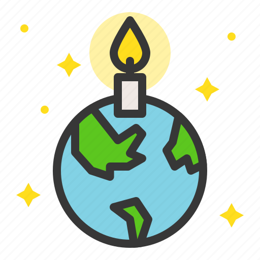 candle, earth day, ecology, environmental protection, globe, green, pray for earth icon