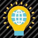 earth day, ecology, environmental protection, globe, green, light, light bulb icon