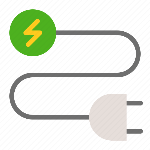 cable, earth day, ecology, energy, environmental protection, green, plug icon