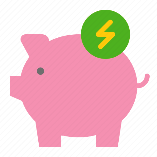 earth day, ecology, energy, environmental protection, green, piggy bank, save energy icon