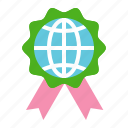 badge, earth day, ecology, environmental protection, globe, green, ribbon icon