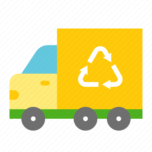 earth day, ecology, environmental protection, garbage truck, green, recycle, reuse icon