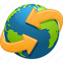 around the world, arrows, earth, ecology, environment, globe, planet icon