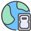 hard disk, internet, network, online, storage icon