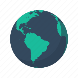 america, atlantic, earth, globe, planet, sea, south icon